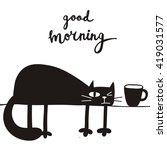Stock vector funny cartoon vector cat print 419031577