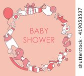 Baby Girl Shower Card. Colorfu...