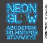 neon glow alphabet vector...   Shutterstock .eps vector #419060803