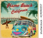 pismo beach california retro... | Shutterstock .eps vector #419090557