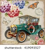 retro car on vintage background. | Shutterstock .eps vector #419093527