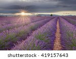 endless lavender fields in... | Shutterstock . vector #419157643