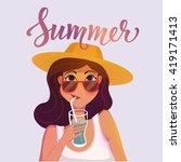 summer girl drinking a cocktail ... | Shutterstock .eps vector #419171413
