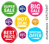 colorful vector sale tags in... | Shutterstock .eps vector #419174347