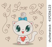 cute cartoon cat with heart and ... | Shutterstock . vector #419206123