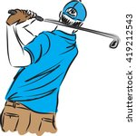 Golf Player Man Illustration