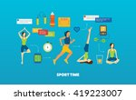 modern flat vector icons of... | Shutterstock .eps vector #419223007