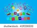 happy birthday greeting card.... | Shutterstock .eps vector #419230333