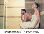 young couple relaxing at spa | Shutterstock . vector #419244907