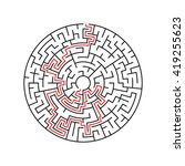 maze labyrinth with answer.... | Shutterstock .eps vector #419255623