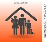 family with a pet vector... | Shutterstock .eps vector #419267557