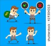 cute set   set of businessman.... | Shutterstock .eps vector #419304313