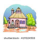 old man and old house cartoon