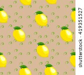 pattern with lemon and leaves. | Shutterstock .eps vector #419351527