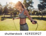 portrait of fit young woman... | Shutterstock . vector #419353927