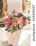 bride in pink dress with...   Shutterstock . vector #419359297