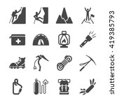 hiking icons set | Shutterstock .eps vector #419385793