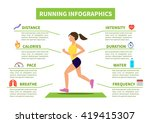 flat running and jogging... | Shutterstock . vector #419415307