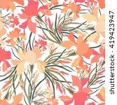 seamless pattern with iris... | Shutterstock .eps vector #419423947