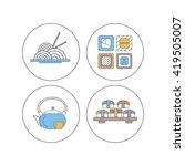 japanese food icons set. sushi  ... | Shutterstock .eps vector #419505007