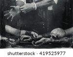 hands of a maniac wearing... | Shutterstock . vector #419525977