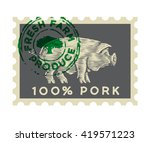 pig in the form of engraving on ... | Shutterstock .eps vector #419571223