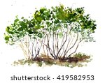 green bushes drawing by... | Shutterstock . vector #419582953