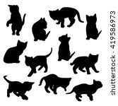 collection of vector kitten... | Shutterstock .eps vector #419586973