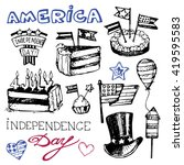 hand drawn set of american... | Shutterstock .eps vector #419595583
