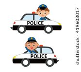 police officer in a police car | Shutterstock .eps vector #419603017