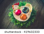 chicken with easter eggs on a... | Shutterstock . vector #419632333