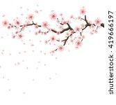 branch of sakura with flowers.... | Shutterstock .eps vector #419666197