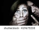 bad guy paining a female | Shutterstock . vector #419675233