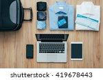 planning a business trip  bag ... | Shutterstock . vector #419678443