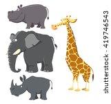 african big wild animals set.... | Shutterstock .eps vector #419746543