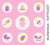 baby girl shower card.  its a... | Shutterstock .eps vector #419751337