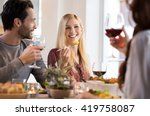 happy young friends enjoying... | Shutterstock . vector #419758087