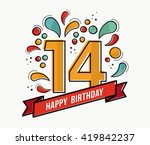 happy birthday number 14 ... | Shutterstock .eps vector #419842237
