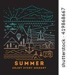 summer flat line art... | Shutterstock .eps vector #419868667
