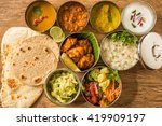 typical curry set meal of meals ... | Shutterstock . vector #419909197