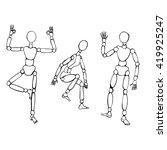 wooden puppets or artist... | Shutterstock .eps vector #419925247
