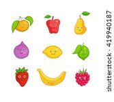 cute smiling fruits characters | Shutterstock .eps vector #419940187
