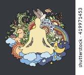 Meditating Man. Vector...