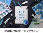 workspace artist on black... | Shutterstock . vector #419996317