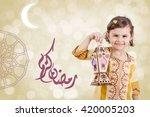 greeting card   ramadan kareem  ... | Shutterstock . vector #420005203