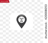 grungy icon with map pointer...