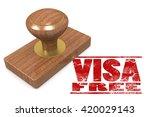 Visa free wooded seal stamp image, 3D rendering