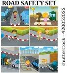 scenes of children and road... | Shutterstock .eps vector #420052033