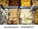 Small photo of trays of ice cream to fruit with PEAR taste listed in ice cream shop