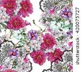 pattern seamless flowers spring ... | Shutterstock . vector #420075727